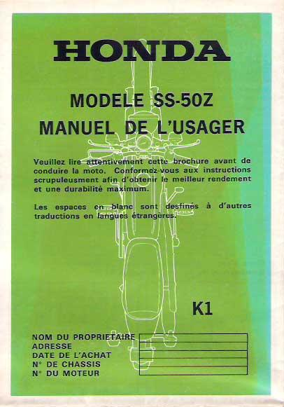 Honda SS50z ownersmanual France