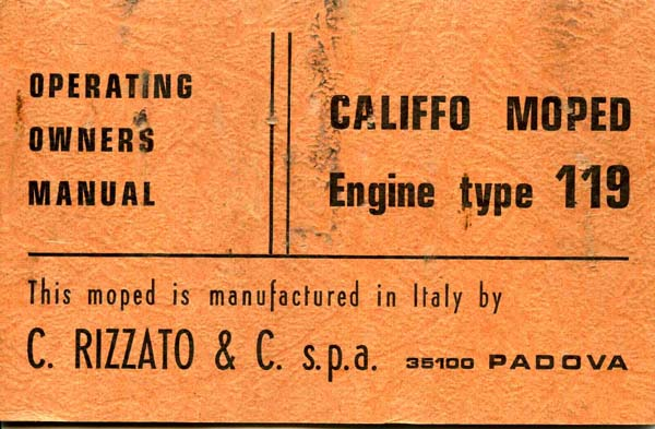 Rizzato Califfo Owners Manual